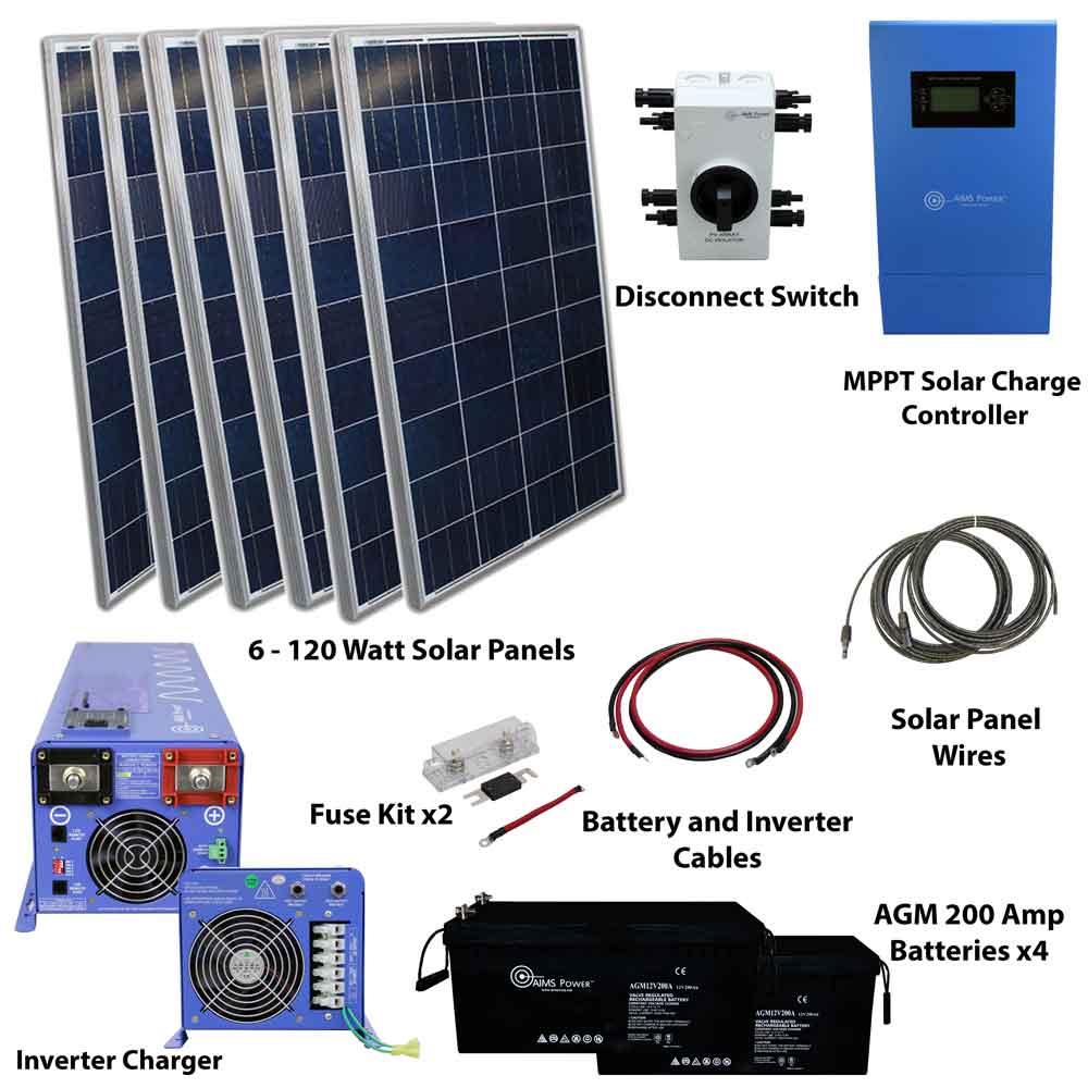 720 Watt Solar 4000 Watt Pure Sine Power Inverter Charger 120 240 Vac Kit Off Grid
