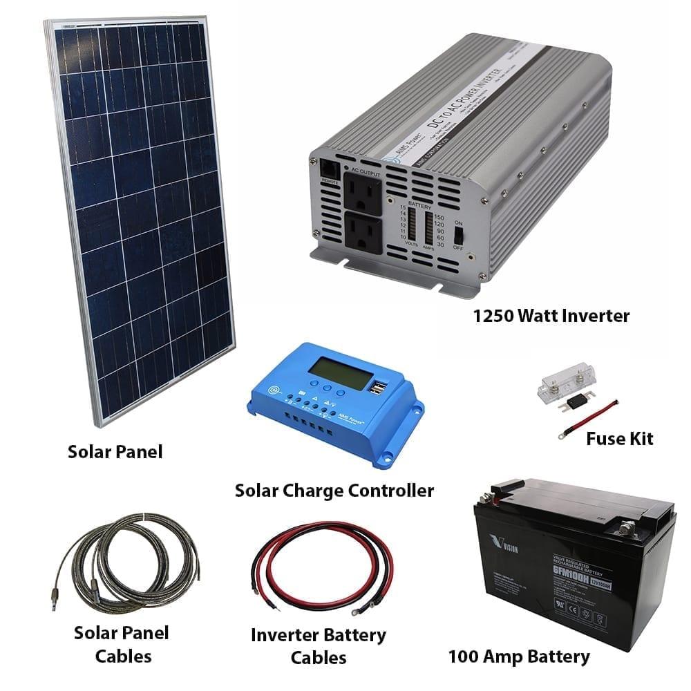 120 Watt Solar Kit 1250 Power Inverter Off Grid 30 Volt Wiring Diagram Converters Portable