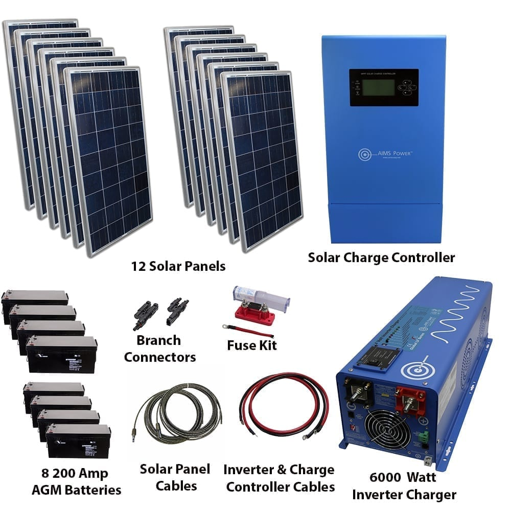 Solar Kits Inverters Panels Controllers Cables Rv Converter With Fuse Box 3180 Watt 6000 Pure Sine Power Inverter Charger 48vdc 120 Vac Off Grid Kit