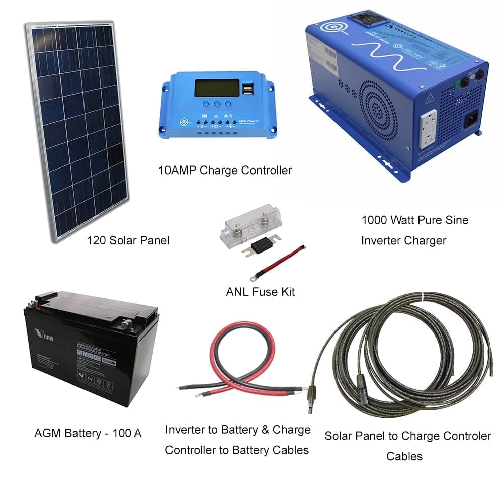 120 WATT SOLAR WITH 1000 WATT POWER INVERTER CHARGER KIT OFF GRID