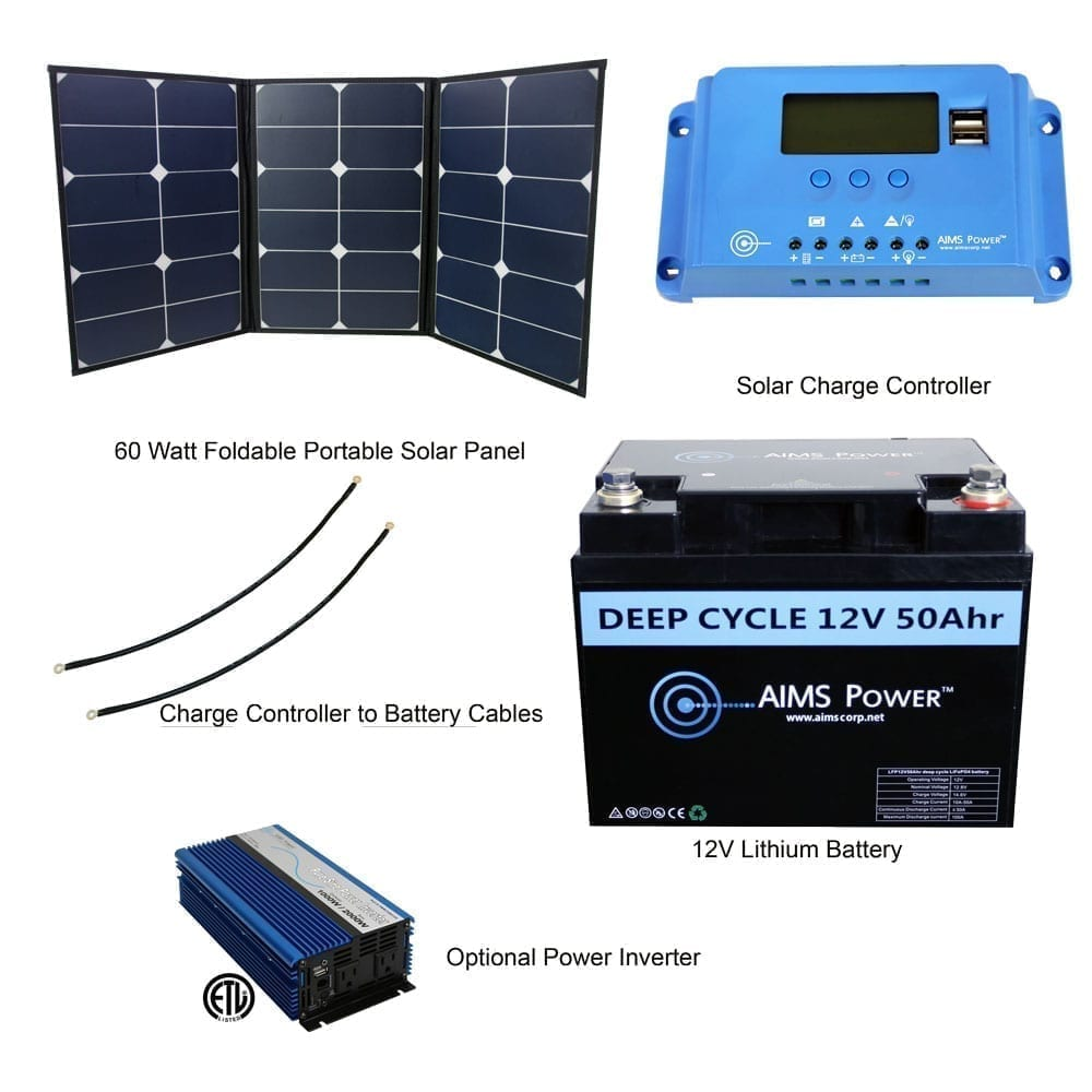 60 Watt Portable Foldable Solar Panel 10amp Charge Controller 12v 48v Battery Charger Circuit With High Low Cutoff Converters Accessories