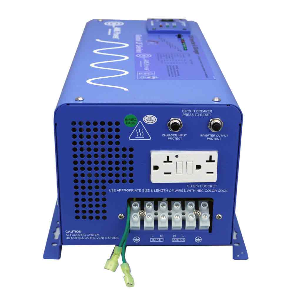 3000 Watt Pure Sine Inverter Charger 24 Vdc To 120 Vac
